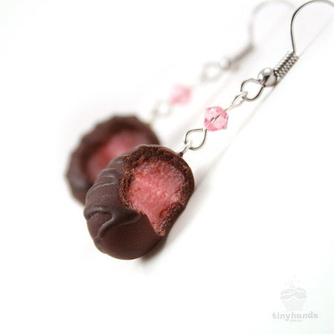 Scented Cherry Chocolate Truffle Earrings - Tiny Hands  - 2