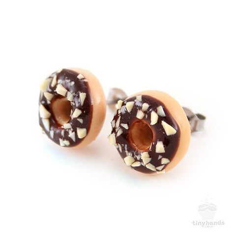Scented Chocolate Nut Donut Earstuds - Tiny Hands  - 1