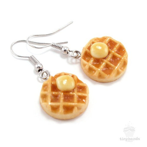 Scented Maple Syrup & Butter on Waffle Necklace and Earrings Set - Tiny Hands  - 2