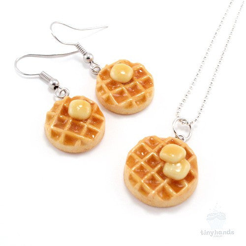 Scented Maple Syrup & Butter on Waffle Necklace and Earrings Set - Tiny Hands  - 4