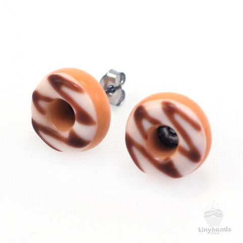 Scented Sugar Chocolate Donut Earstuds - Tiny Hands  - 1