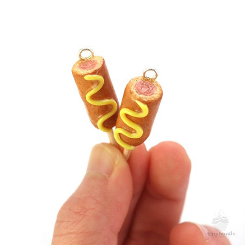 Maple Syrup Scented Corn Dog Earrings - Tiny Hands  - 2