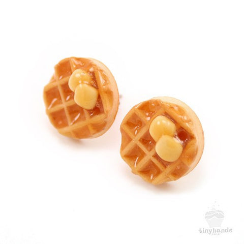 Scented Maple Syrup Waffle Earstuds - Tiny Hands  - 1