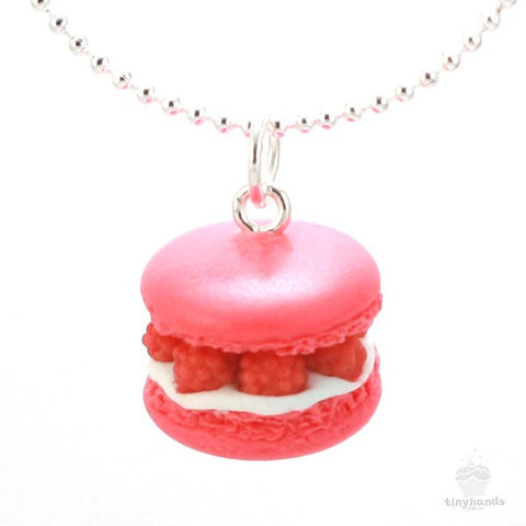 Scented Raspberry French Macaron Necklace - Tiny Hands  - 1