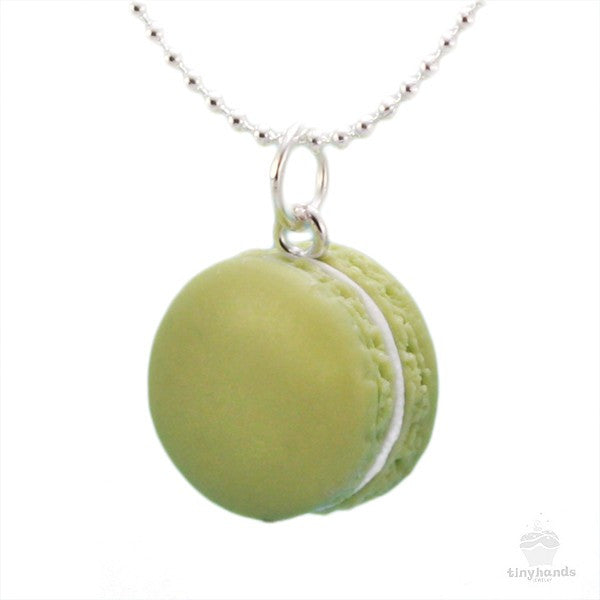 Scented Pistachio French Macaron Necklace - Tiny Hands  - 1