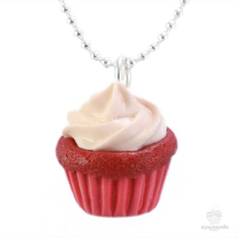 Scented Red Velvet Cupcake Necklace - Tiny Hands  - 1