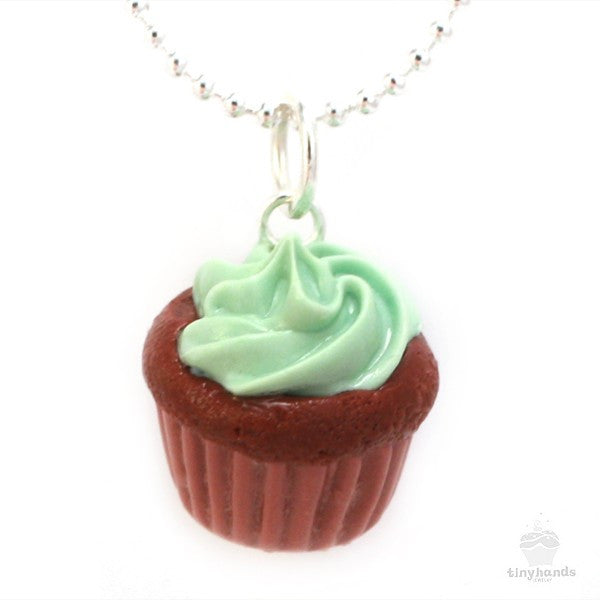 Scented Mint Chocolate Cupcake Necklace - Tiny Hands  - 1