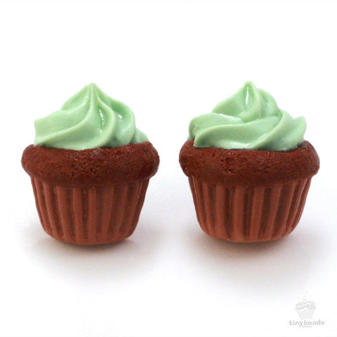 Scented Mint Chocolate Cupcake Earstuds - Tiny Hands  - 1