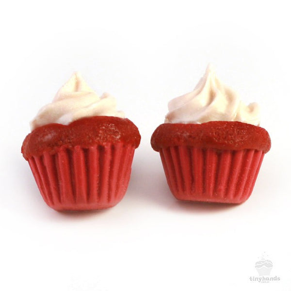 Scented Red Velvet Cupcake Earstuds - Tiny Hands  - 1