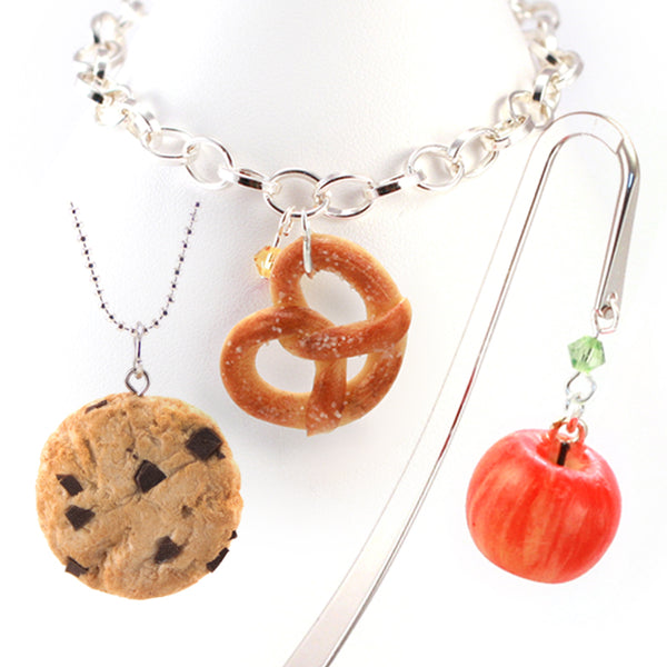 Back To School Set: Scented Apple Bookmark, Scented Pretzel Bracelet, Scented Chocolate Chip Cookie Necklace
