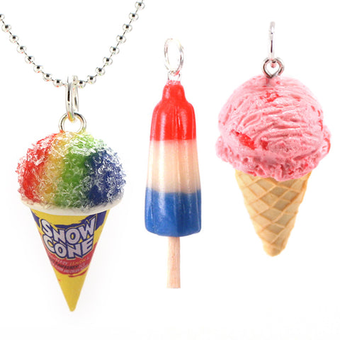 Summer Favorites Set: Scented Snow Cone, Ice Cream and Bomb Pop Necklace Bundle