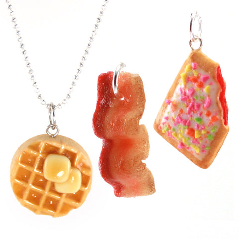 Breakfast Favorites Set: Scented Waffle, Bacon and Toaster Pastry Necklace Set