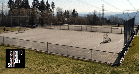 An outdoor mini-court on the side of a mountain in Coquitlam British Columbia Canada. Great spot for roller hockey or ball hockey.