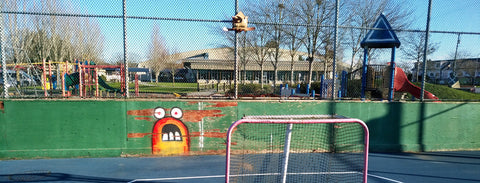 The lacrosse box at THompson secondary school in Richmond British Columbia Canada has a group of players and goalies that try to play outdoor roller hockey with a ball multiple times a week. the court has lights and a decently smooth surface