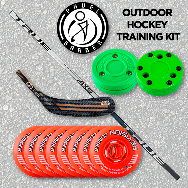 Pavel Barber Outdoor Hockey Training Kit - Wheels, Biscuits, Shaft & Blade