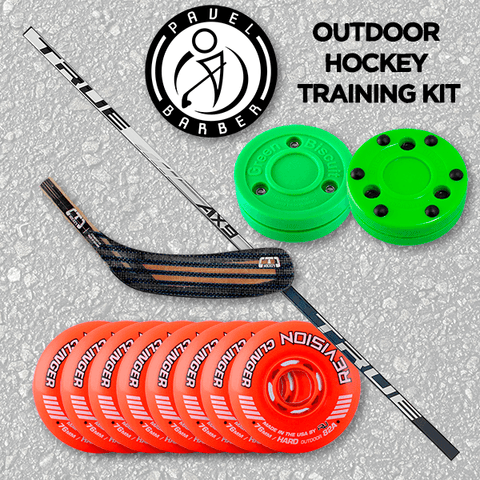 Pavel Barber Outoor Hockey Training Kit - Wheels, Biscuits, Shaft & Blade