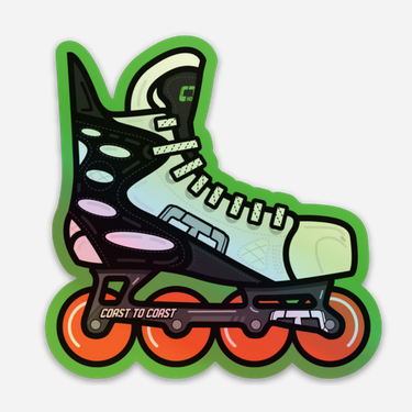 Holographic Retro Roller Hockey Skate Stickers by Tony Headrick
