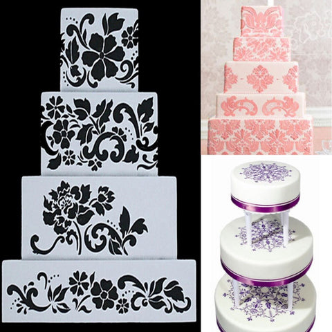 Fondant Cake Side Stencil 4 Pcs Flower