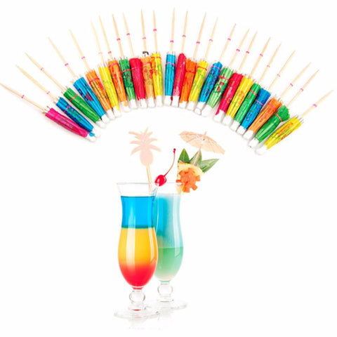 Umbrellas Paper Cocktail Sticks 50 Pcs