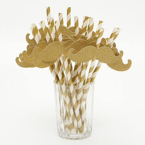 Golden Drinking Straws 25 Pcs