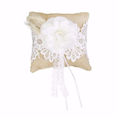 Vintage Burlap and Lace Flower Ring Pillow