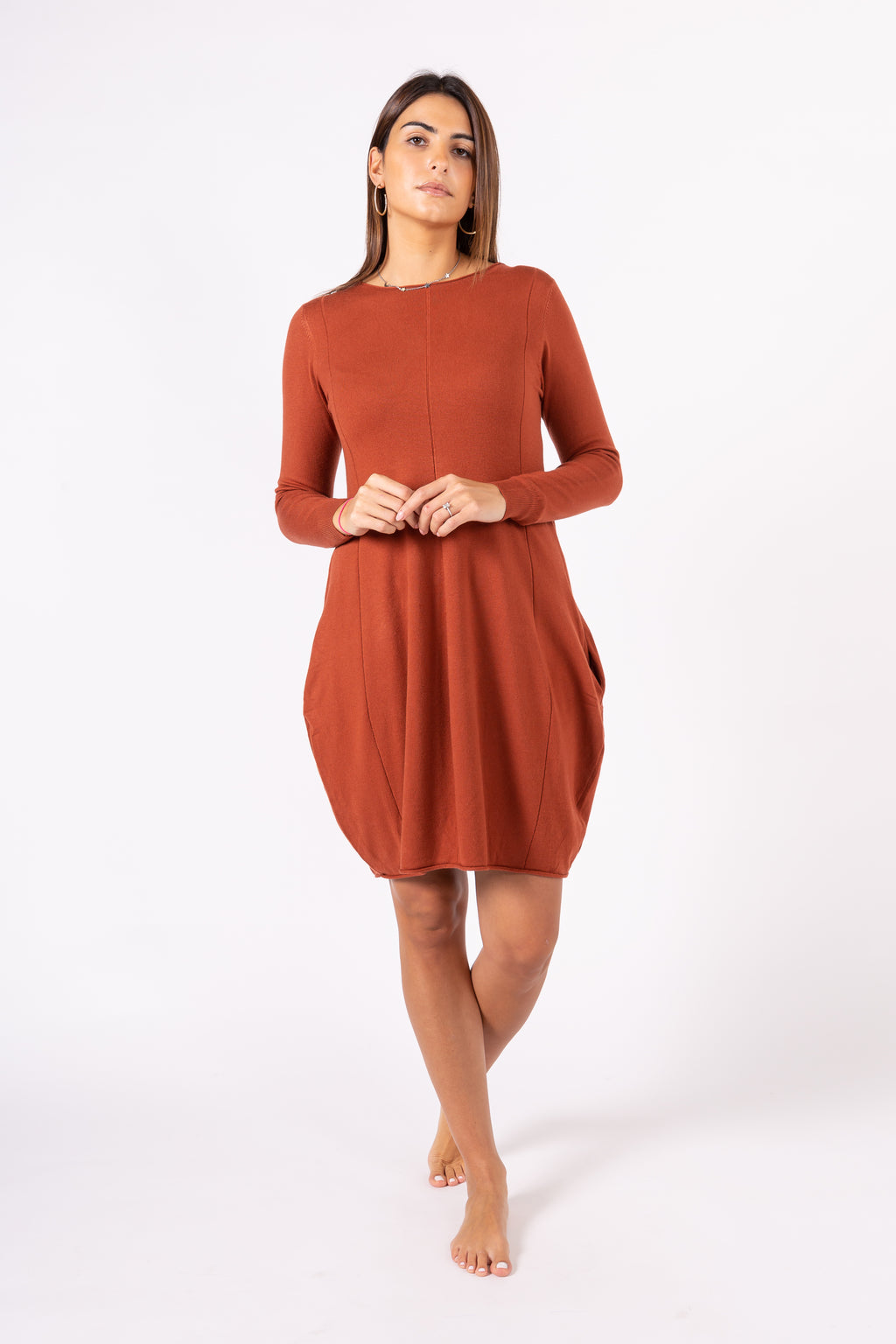 Ribbed pullover dress with pockets
