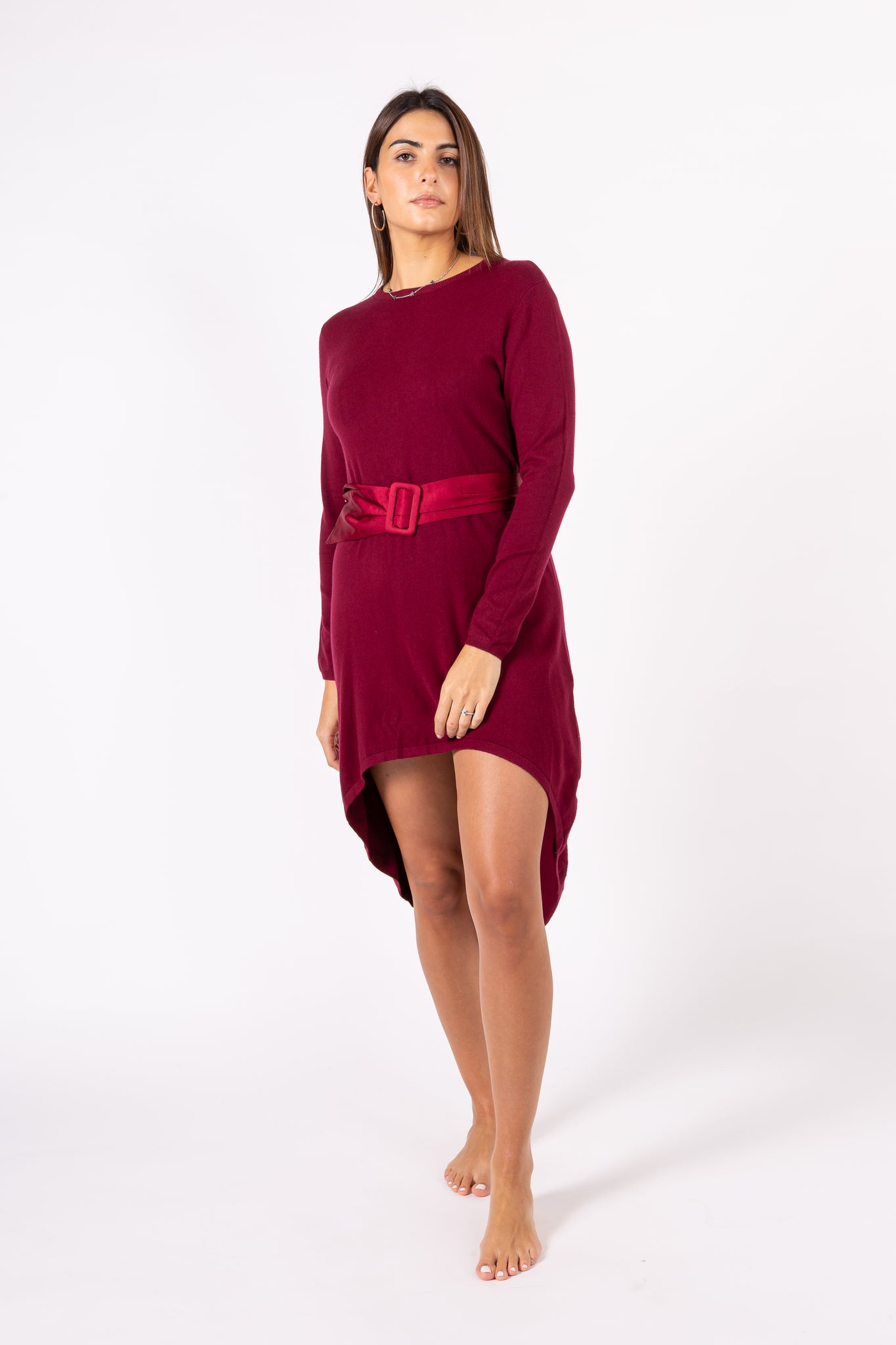 Tailcoat pullover dress with belt