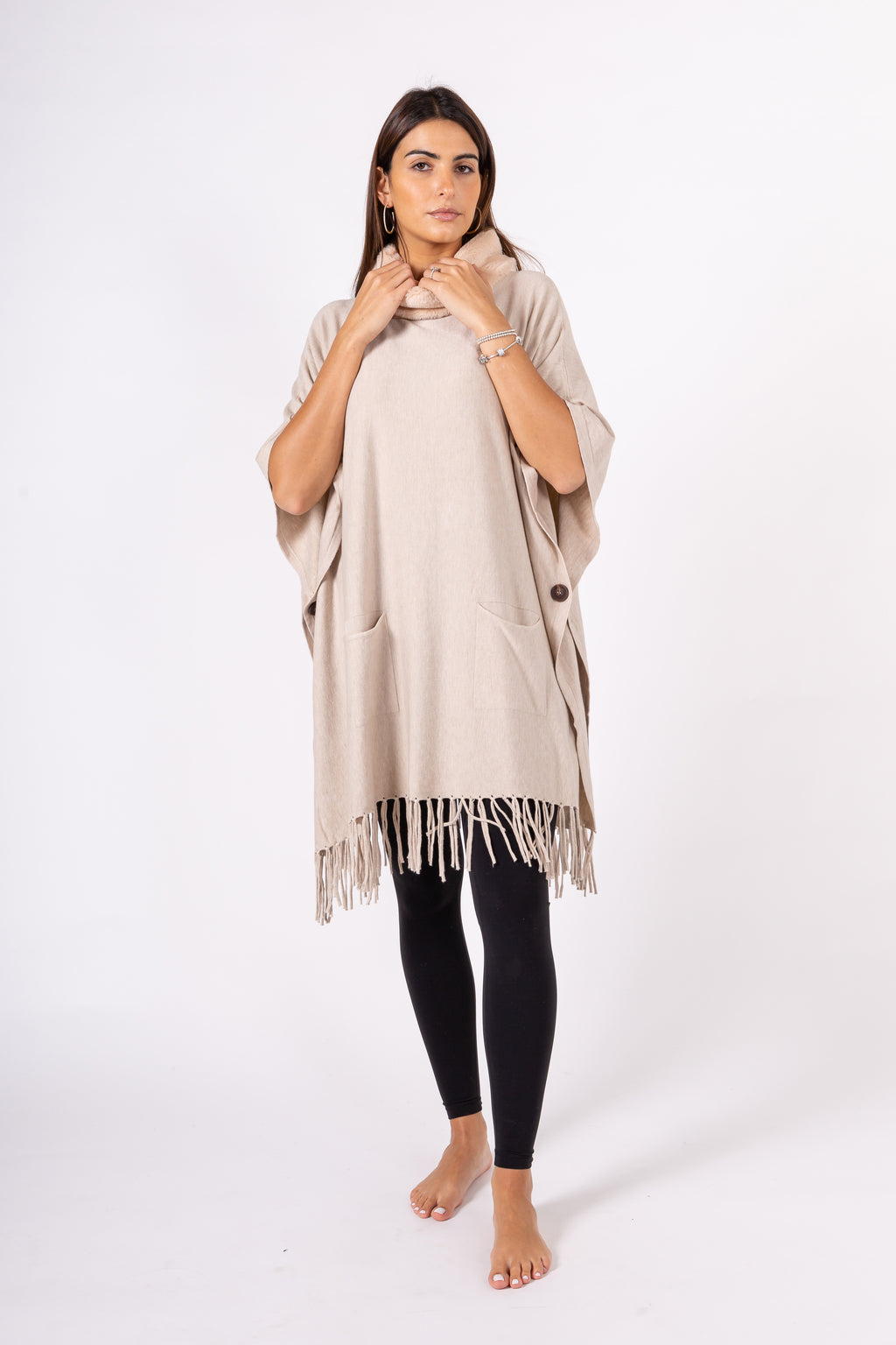 Fringe tunic with fake fur collar