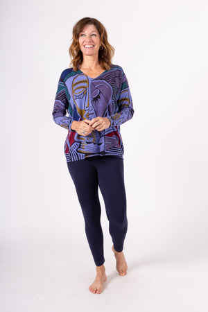 Cubism v-neck printed top