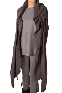 Long cardigan with detail neck and front pocket