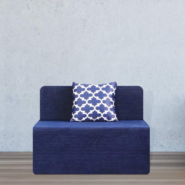 Chennile Sofa Bed (3' x 6') - With 1 Cushion- Semicircle Pattern | Dotted Blue