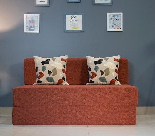 Jute Sofa Bed (4' x 6') - With 2 Cushions (Pebble Pattern) | Orange