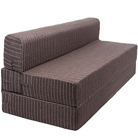 Sofa Cum Bed - 3 Seater - Jute Fabric Washable Cover - Brown| 5' X 6' Feet.(SCB-001727-BR)