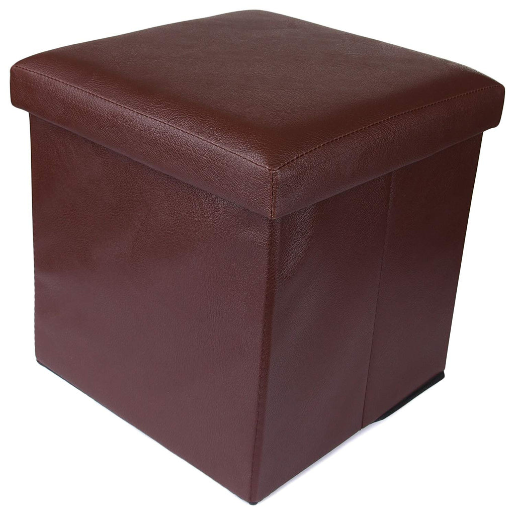 Brown Foldable Organizer Stool Chest Storage Box with Lid – Multi-Functional Collapsible Ottoman Footrest Seat Footstool Faux Leather (OTTO-000992-PLBRW_A)