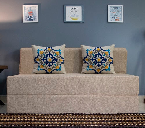 Jute Sofa Bed (4' x 6') - With 2 Cushions(Blue Medallion Pattern) | Beige