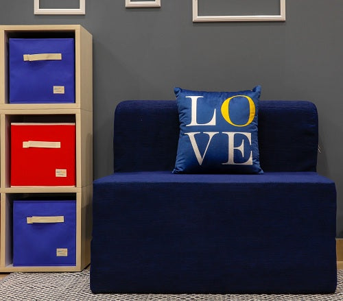 Moshi Sofa Bed (3' x 6') - With 1 Cushion- Love Pattern | Navy Blue