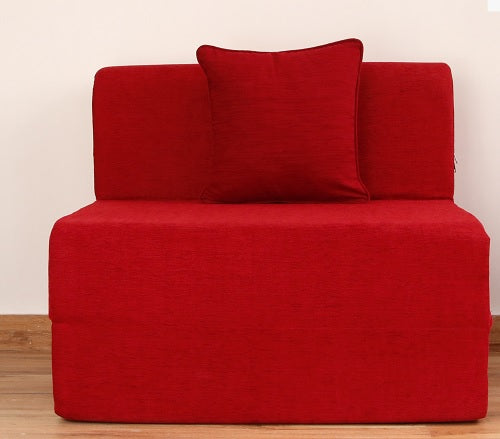 Moshi Sofa Bed (3' x 6') - With 1 Cushion | Red