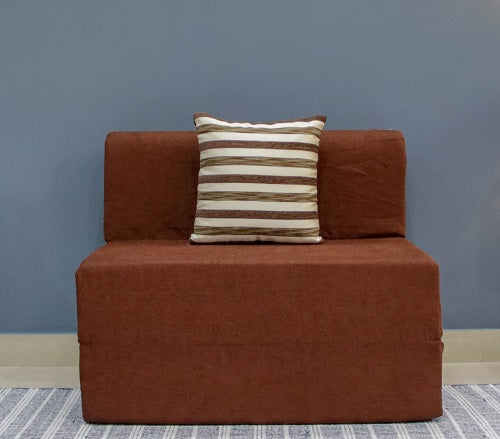 Moshi Sofa Bed (3' x 6') - With 1 Cushion(Striped Pattern) | Coffee Brown