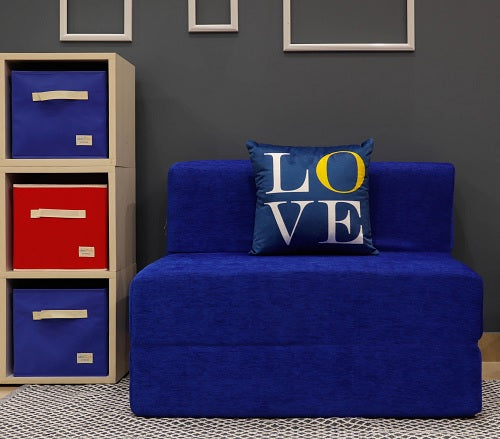 Moshi Sofa Bed (3' x 6') - With 1 Cushion- Love Pattern | Royal Blue