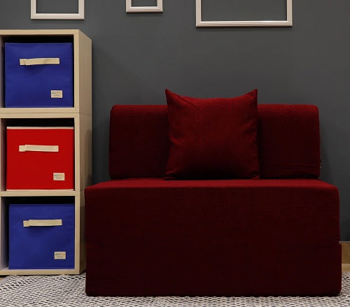Moshi Sofa Bed (3' x 6') - With 1 Cushion | Crimson Red