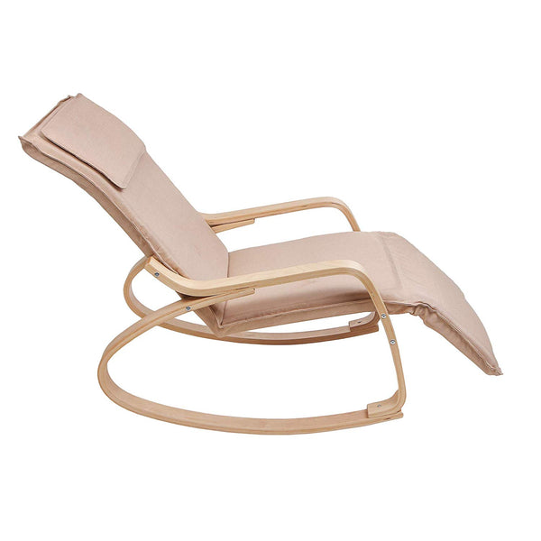 Uberlyfe Relax Rocking Chair with Foot Rest Design with Cushion - Cream Colour