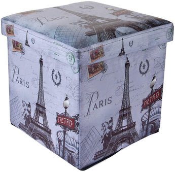 Vintage Paris Foldable Ottoman Storage Box cum Stool (OTTO-000994-VINPARIS)