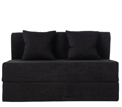 Moshi Sofa Cum Bed - with 2 Cushions (4' X 6') | Black