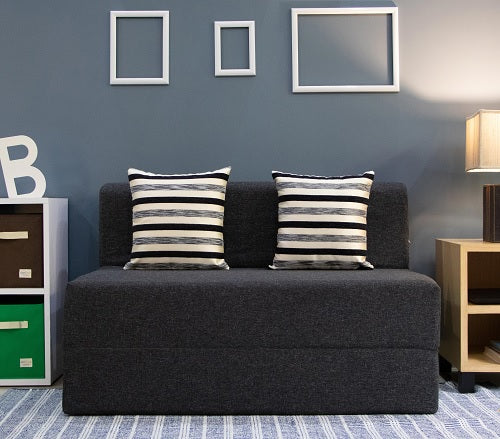 Jute Sofa Bed (4' x 6') - With 2 Cushions(Striped Black Pattern) | Dark Grey