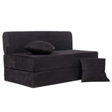 Sofa Cum Bed - Perfect for Guests - Moshi Fabric Washable Cover with Two Pillows - Black | 4' X 6' Feet (SCB-001726-MOSHI-BK)