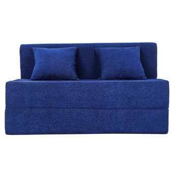 Sofa Cum Bed - Perfect for Guests - Moshi Fabric Washable Cover with Two Pillows - Navy Blue | 4' X 6' Feet (SCB-001726-MOSHI-NYBL)