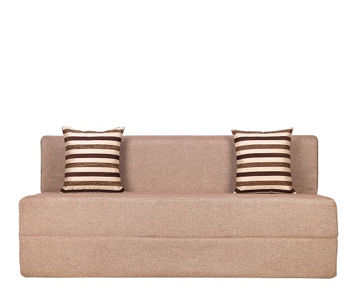Jute Sofa Cum Bed (5' x 6')| With 2 Cushions (Striped Brown) | Beige