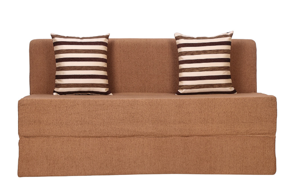 Moshi Sofa cum Bed (5' x 6')| With 2 Cushions (Striped Brown) | Light Brown