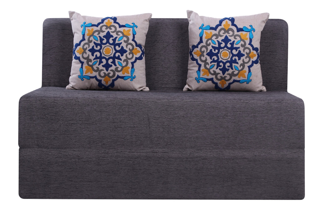 Moshi Sofa Bed (4' x 6') - With 2 Cushions(Blue Medallion Pattern)- Dark Grey