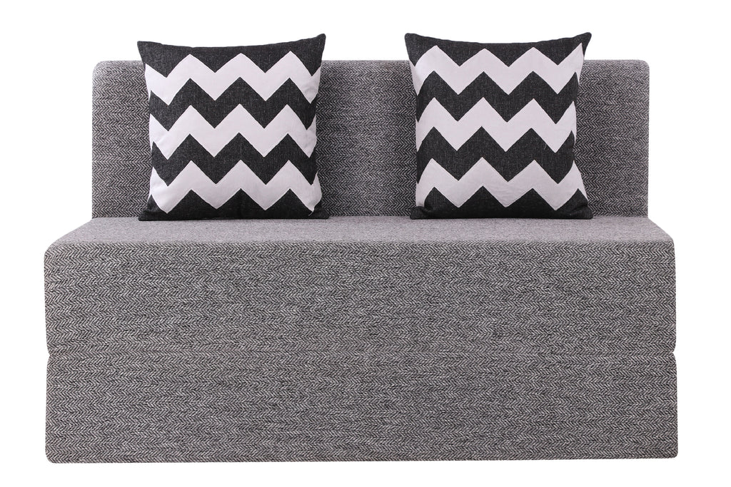 Herringbone Sofa Bed (4' x 6') - With 2 Cushions(Zigzag Pattern) | Silver